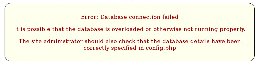 Moodle Error Database connection failed